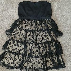 Poetry Little Strapless Black Ruffle Dress Medium